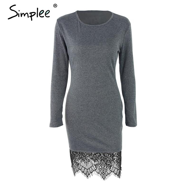 Elegant Lace Gray Bodycon Christmas Evening Party Long Sleeve Winter Casual Dresses