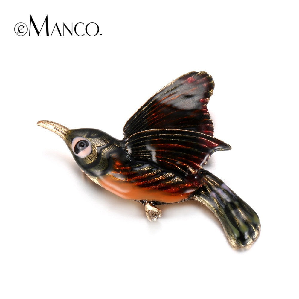 Chic Charming Cute Bird Brooches Enamel Pin for Women Gold Plated Banquet  Decoration