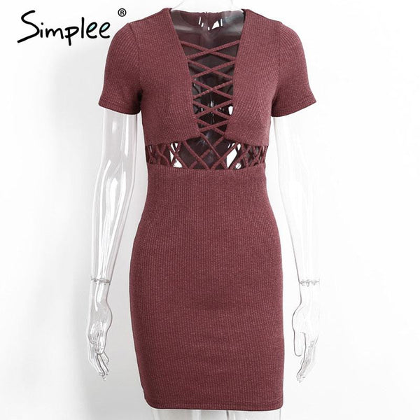 Autumn Winter Knitted Lace Up Women Sexy Red Bodycon Dress Elegant Party Short Sleeve Girls Dress