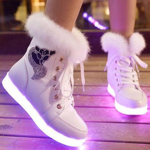 Luminous Shoes Women Rabbit Fur Quilted Boots USB Rechargeable Led Shoes Black Winter Snow Shoes