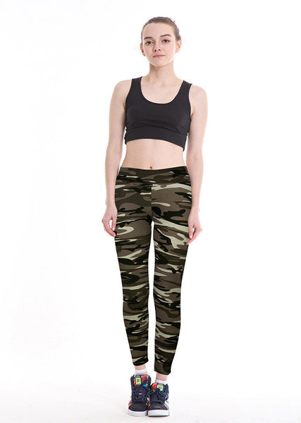 Camouflage Leggings Camo Stretch Trousers Army Green Legging Plus Size