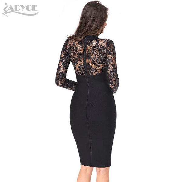 Winter Party Long Sleeves Hollow Out Hot Celebrity Cocktail Bodycon Dresses Black Lace Bandage