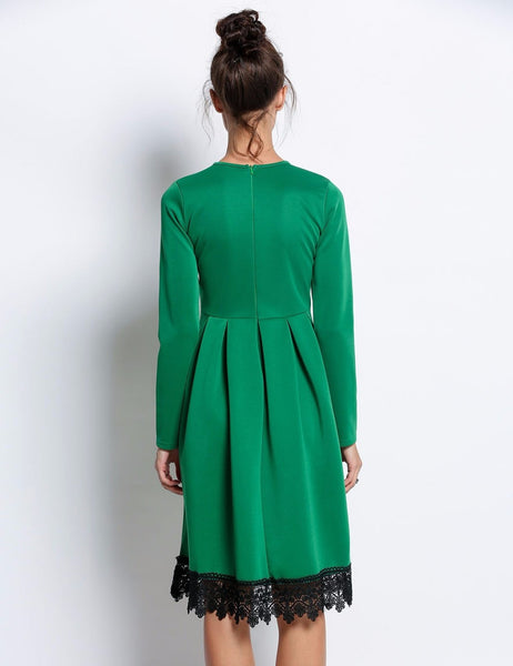 Autumn Winter Women O Neck High Waist Long Sleeve Green Knee Length Lace Party Dresses Robe Sexy