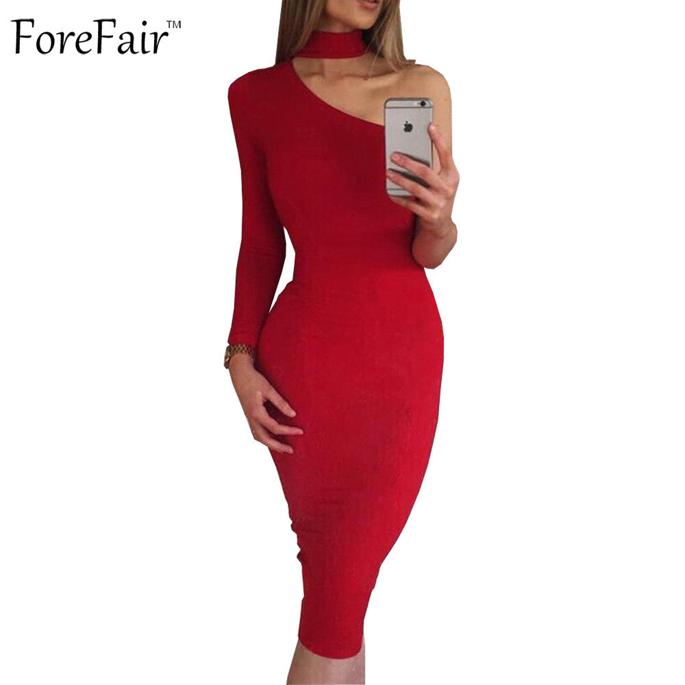 f07b594190e Winter Autumn Sexy One Shoulder Irregular Club Party Fitted Halter Pencil  Bodycon Dresses Plus Size ...