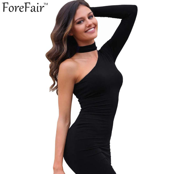 Winter Autumn Sexy One Shoulder Irregular Club Party Fitted Halter Pencil Bodycon Dresses Plus Size