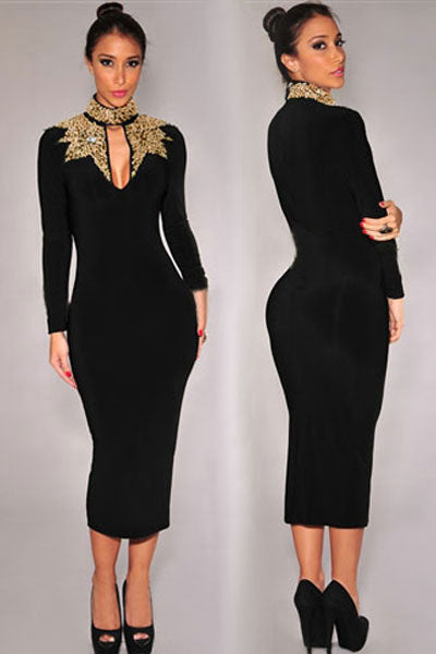 8b102958358 Long Sleeve Vintage Autumn Dress Women Party Dresses Black Gold Sequins  Mock Neck Midi Dress