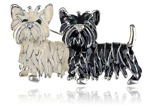 Black White Shih Tzu Puppies Fashion Costume Jewelry Enamel Pin Brooch Pendant