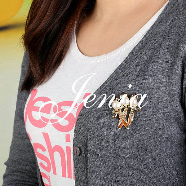 Fashion 18K Gold Plated Three Birds Brooch Stellux Austrian Crystal Enamel Pin Brooch