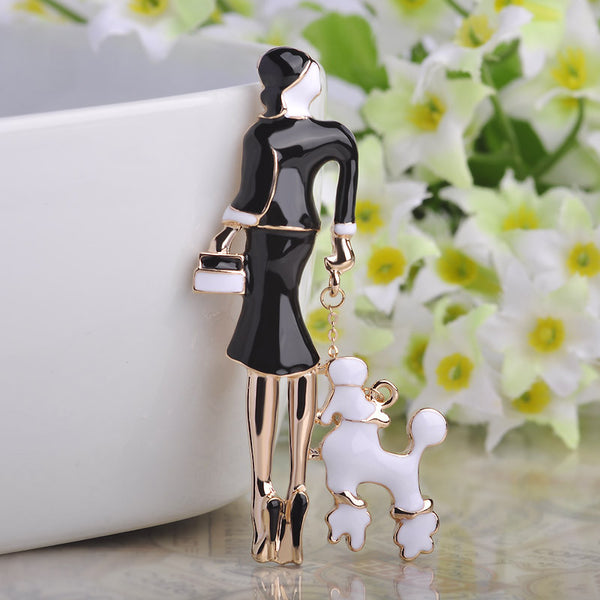 Sexy Dress Girls Brooches Black Bag Ladies Corsage Enamel Pin Suit Scarf Buckles 18K Gold Metal