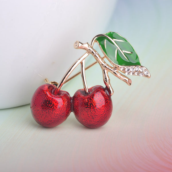 18K Gold Cherry Brooch Corsage Small Bouquet Hijab Enamel Pin