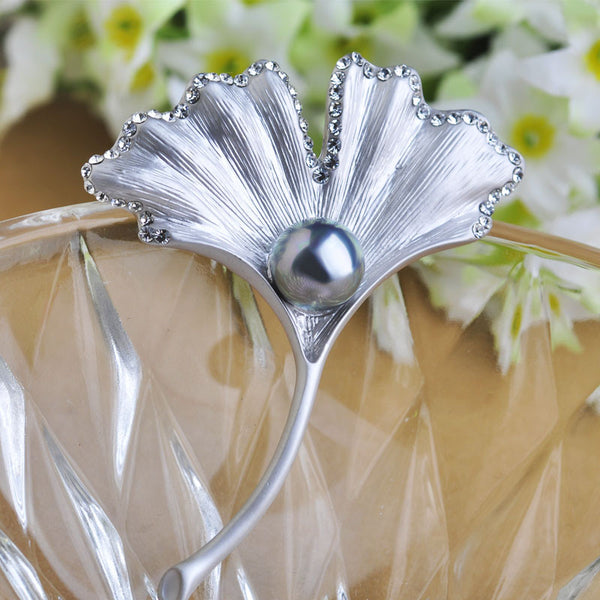 Silver Ginkgo Biloba Leaves Brooches Gray Pearl Jewelry Crystal Blue Brooch Enamel Pin