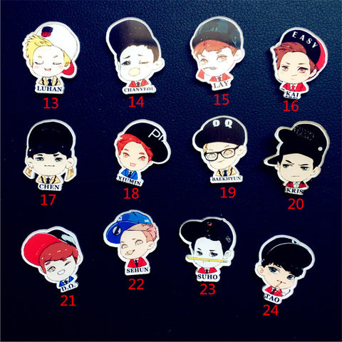 Acrylic Harajuku Badge Bigbang Brooches Collar Tips Cartoon Enamel Pin Up Christmas Gifts
