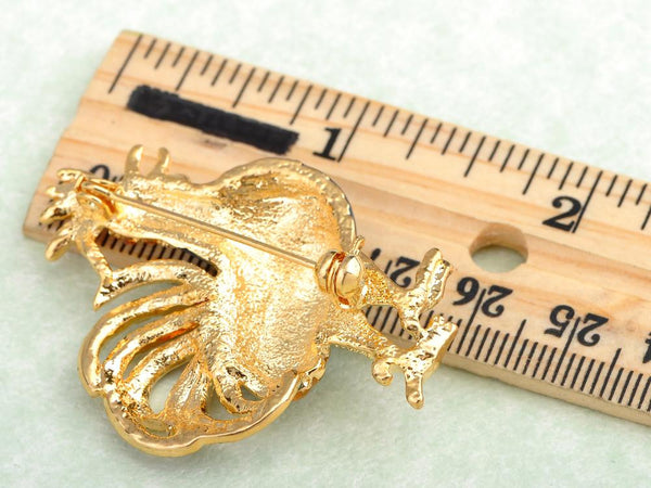 Crowing Golden Tone Rooster Animal Brooches Happy Farm Roosters Hens Enamel Pin Costume Jewelry