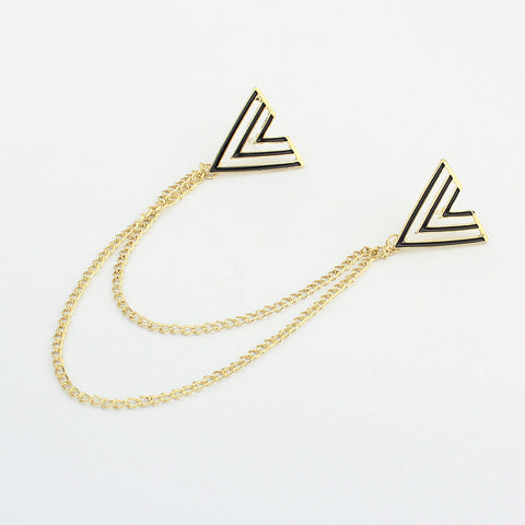 Black Real Gold Plated Triangle Zinc Alloy Collar Brooch Chain Stripe Enamel Pin