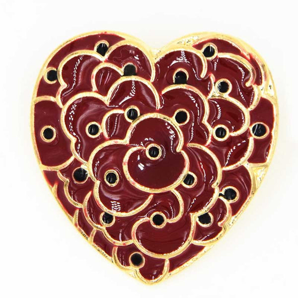 Ruby Red Heart Shaped Poppy Brooch For The Remembrance Day The Royal British Legion Enamel Pin
