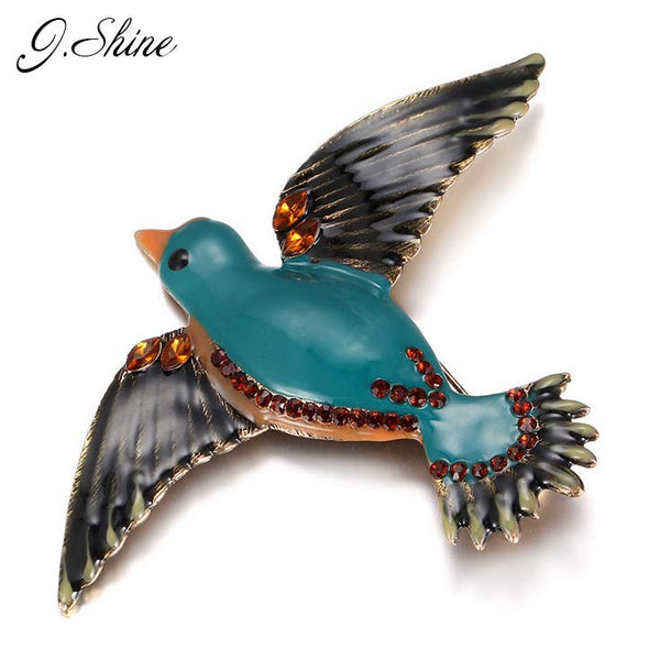 Vintage Handmade Lampwork Brooch Crystal Metal Brooches for Women Bird Accessories Enamel Pin