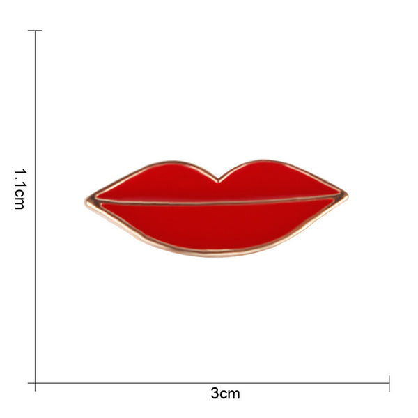 Set of 2 Lipstick And Red Lip Metal Brooch Lapel Pins For Girl Enamel Pin