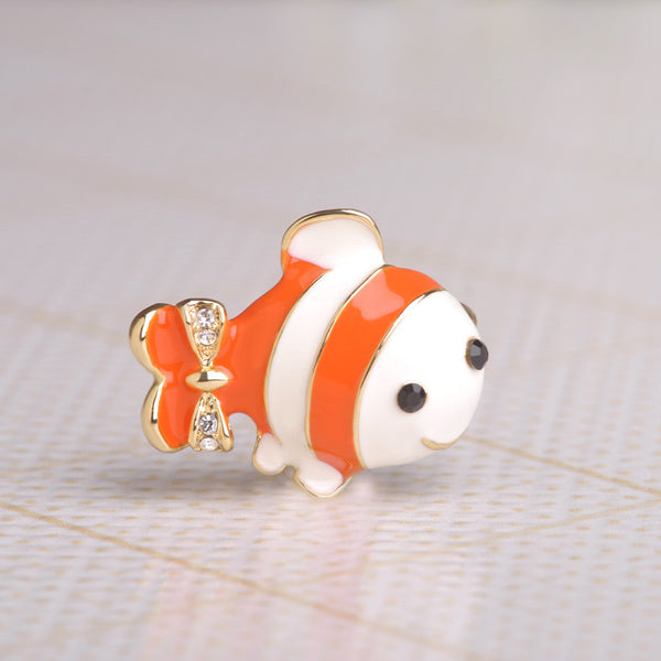 Clown Fish Brooches 18K Gold Plated Broche Hijab Enamel Pin Corsage Boutonniere