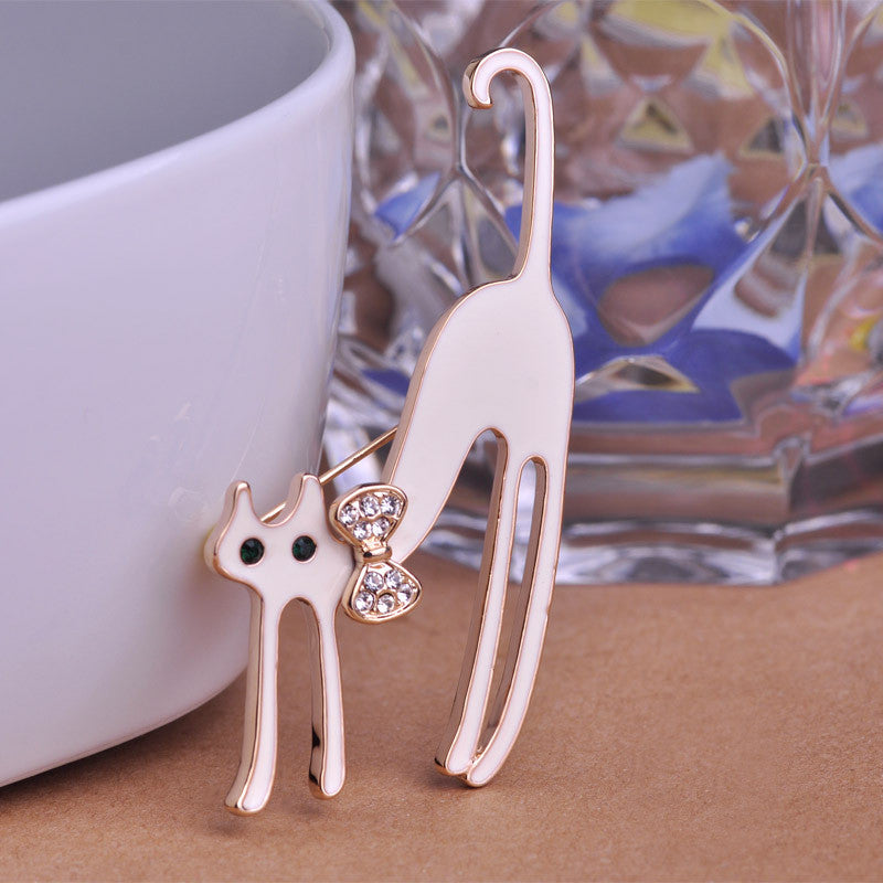 Black Cat Brooch Enamel Pin Long Legs For Wedding Bouquets Gifts
