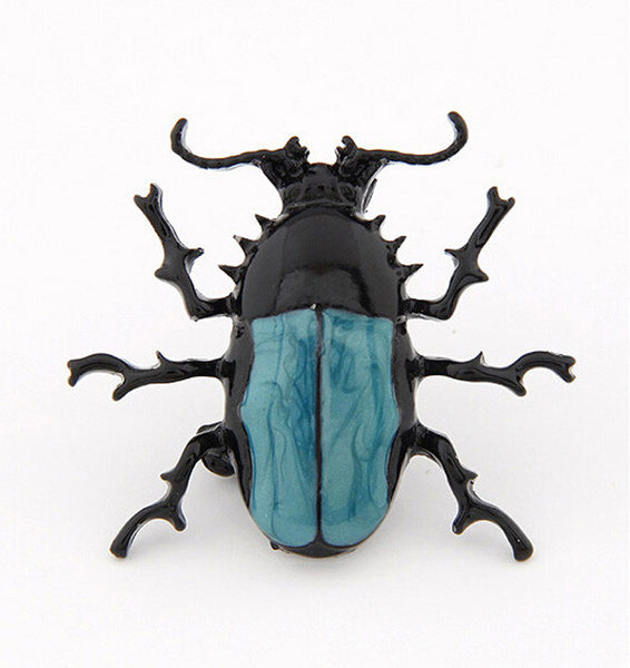 Blue Bug Beetle Insect Brooch Enamel Pin Costume Jewelry For Gift