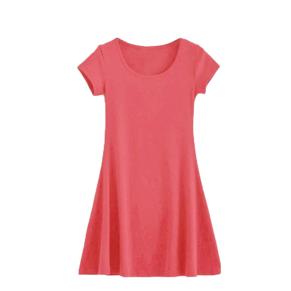Women Summer Mini Dress Short Sleeve Candy Color One-piece Slim Basic Dresses