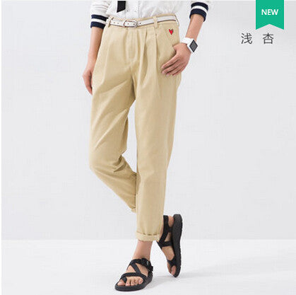 Summer Female Casual Embroidery Pattern Pleated Straight Full Lenght Trousers XXL Size Loose Pants