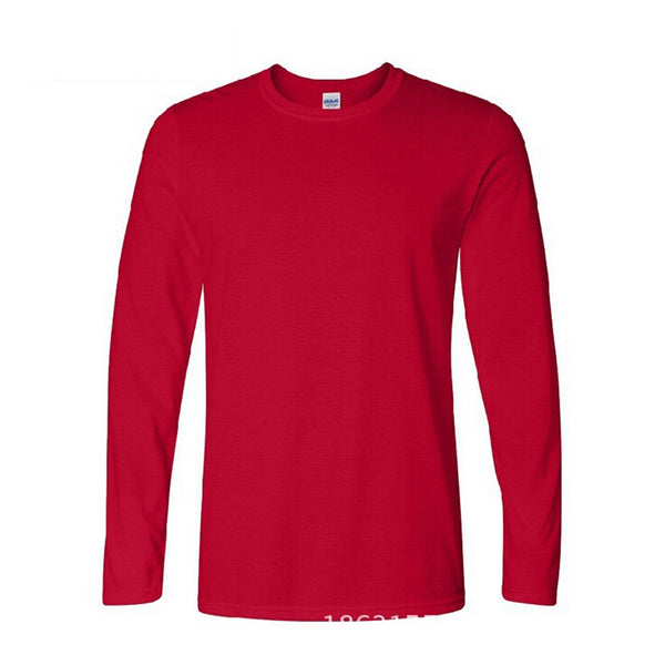 Plus Size XS-XXL Classic Men T-Shirt Long Sleeve O Neck Cotton Tees Tops