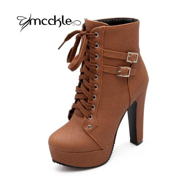 Autumn Winter Ankle Women Boots High Heels Lace Up Leather Double Buckle Platform Short Booties