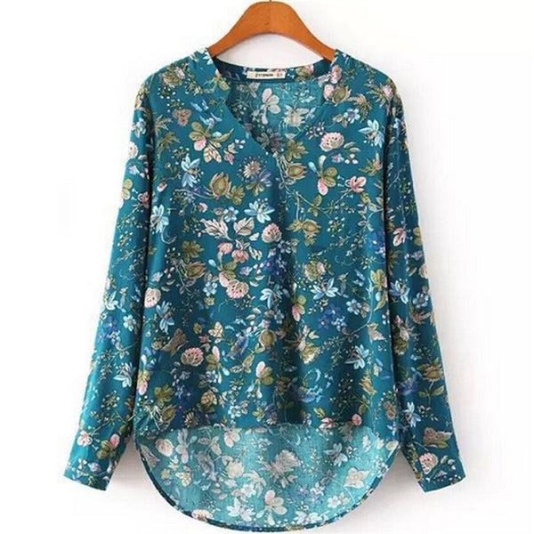 Cotton Blouse Casual Loose Vintage V-neck Floral Print Long Sleeve Shirt Women Plus Size