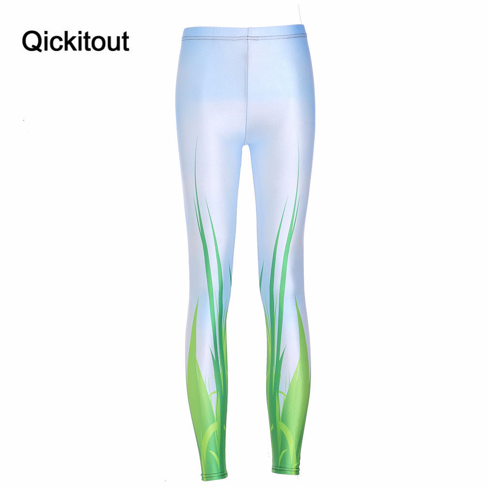 Green Leaf Digital Print Leggings