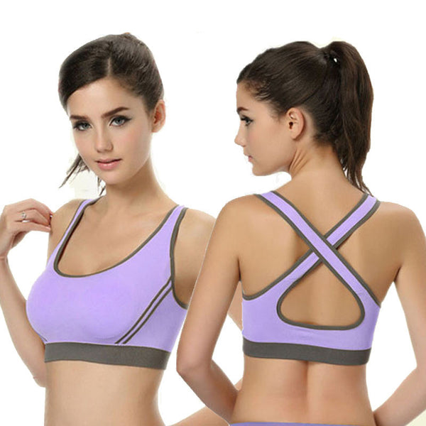 Cropped Padded Bra Tank Top Athletic Vest Gym Fitness Sports Stretch Women's Tanks