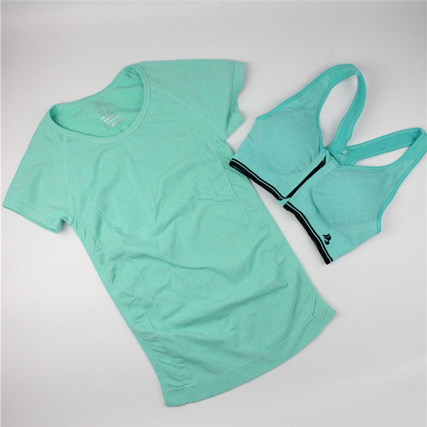 Athletic Women Casual T-shirt + Bra Sets Sport Tops Quick-Dry Fitness Clothing for Female One Suit