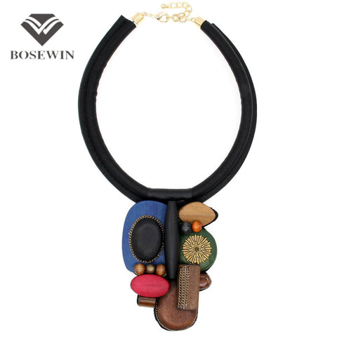 Vintage Indian Statement Women Fashion Leather Torques Wood Bead Chokers
