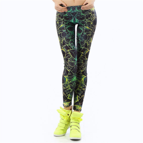 New Arrival 3D Printed Color Women Leggings Ray Fluorescence Leggings Woman
