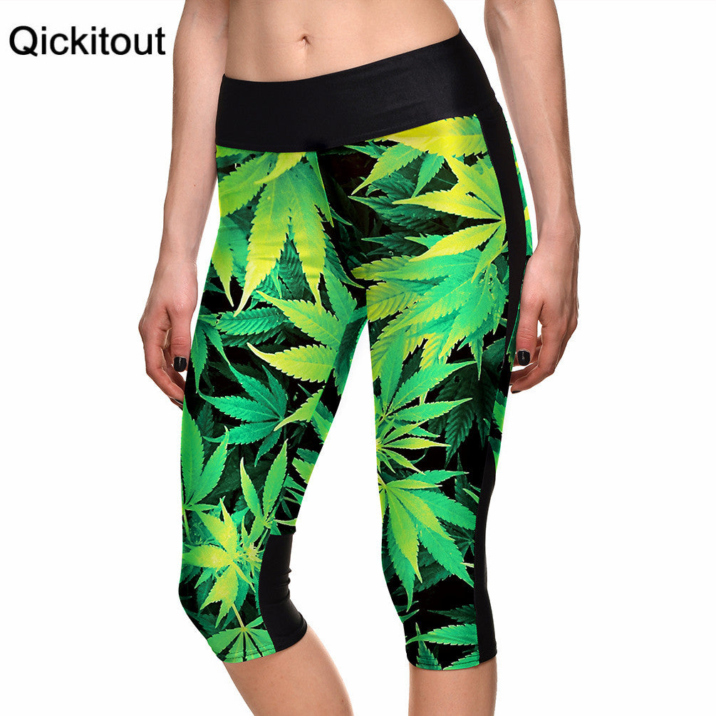 S-xl Sexy Women's Leggings Maple Forest Trees Digital Print Women High Waist Side Pocket Phone Pants