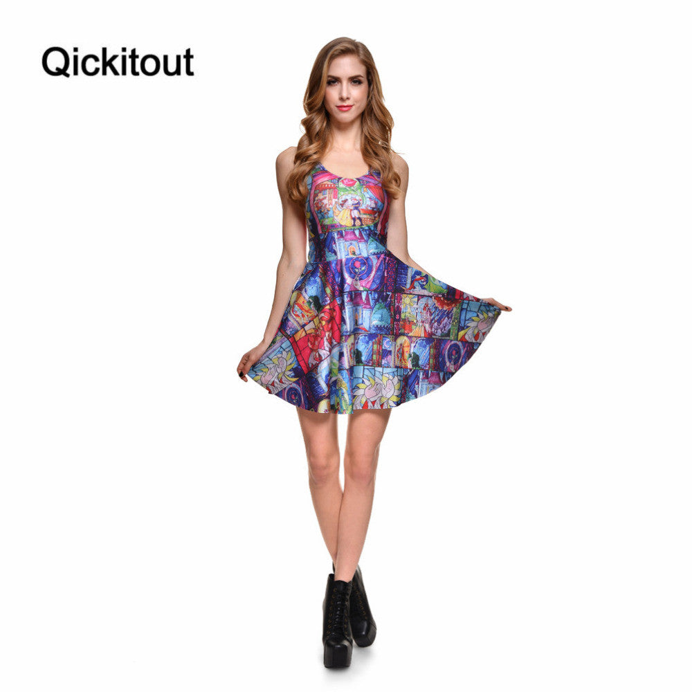 Brand New Sexy Women Casual Dress Tale As Old As Time Reversible Skater Dress Pleated Print Dresses