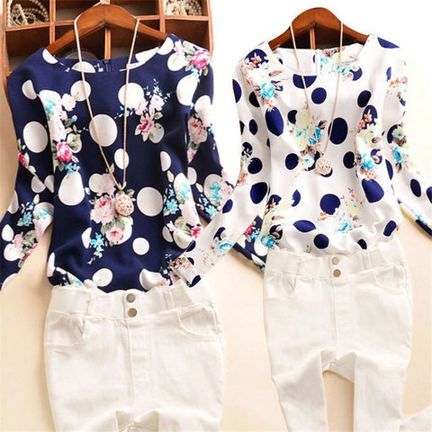 Chiffon Blouse Shirts Floral Polka Dot Print O-neck Loose Long Sleeve Shirt White Plus Size S-XXXL