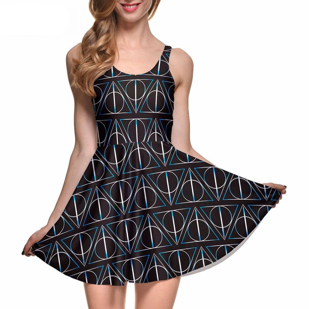 New Sexy Women Casual Dress' Deathly Hallows Reversible Skater Dress Pleated