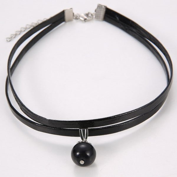 Gothic Adjustable Chain Charm Vintage Jewelry Celebrity Double Layer Black Imitation Leather Choker