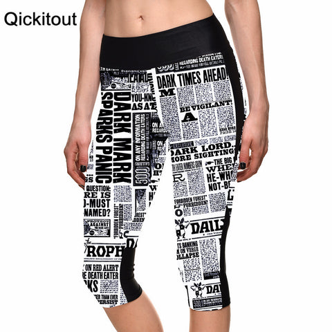 7 Point Pants Letter Posters Newspaper Digital Print Women High Waist Side Pocket Phone Pants