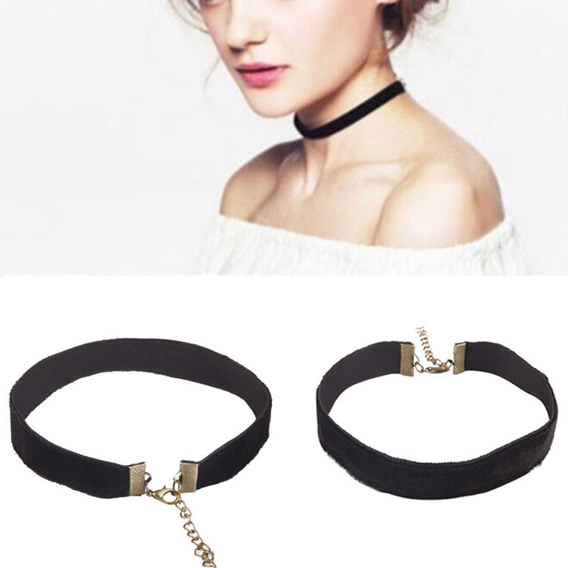 3 Pcs 90's Women Black Velvet Choker Gothic Handmade Retro Burlesque Jewelry