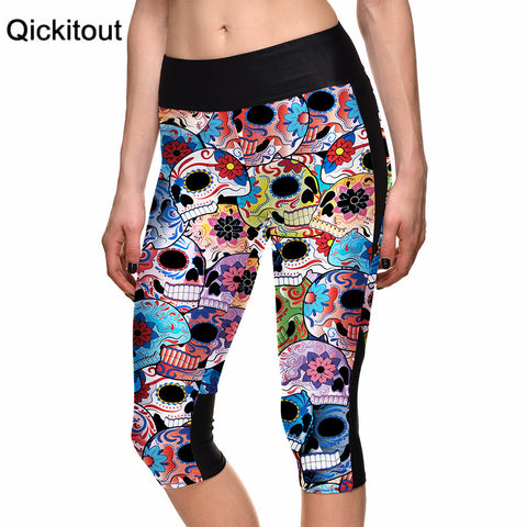 Women's Legging Skull Flower Color Digital Print Women High Waist Side Pocket Phone Pant