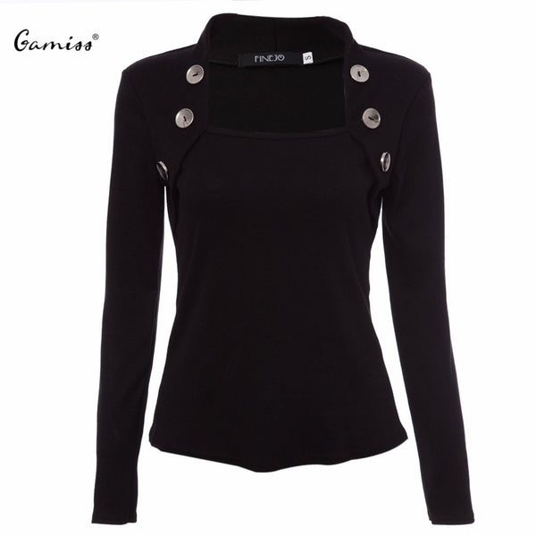 Femme Women T-Shirt Tops Fall Tee Shirt Buttons Long Sleeve Ladies Shirts Knitted Blusas for Women Black Plus Size