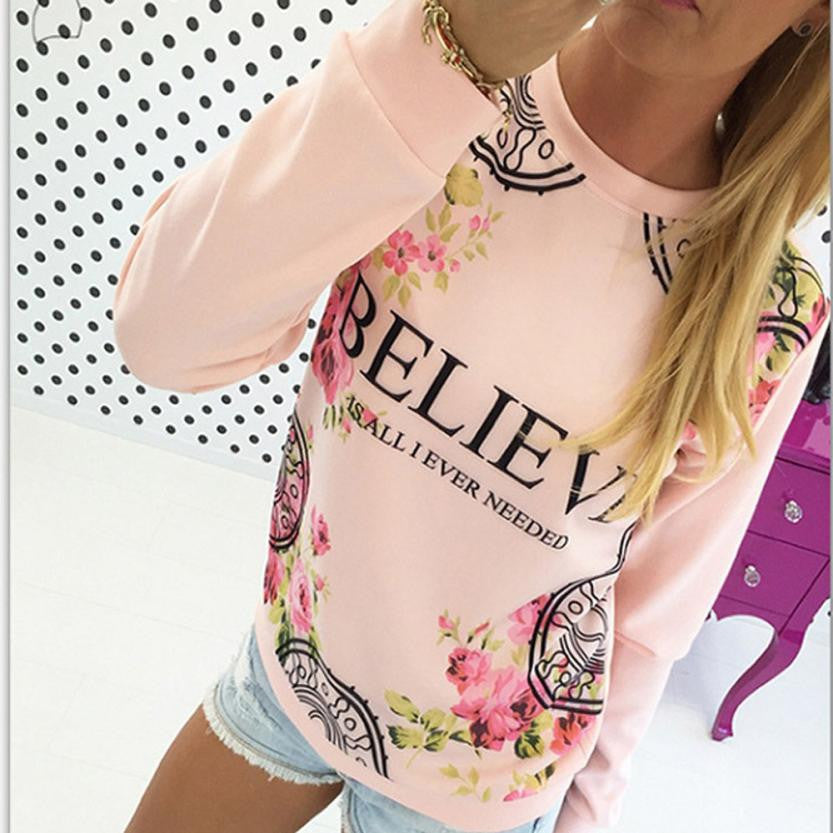 Kimisohand 2016 Fashion Women Casual Loose Cotton Floral Print Hoodies Sportwear Pullover Sweatshirt Long Sleeve Blouse Tops