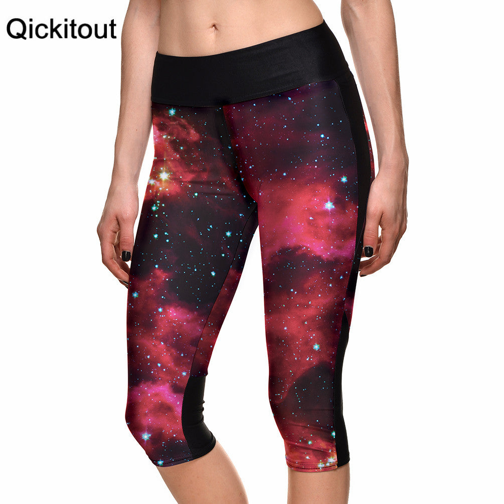 7 Point Pants Legging Galaxy Psychedelic Red Star Digital Print High Waist Side Pocket Phone Pants