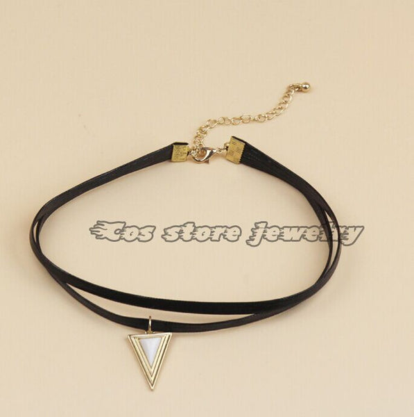Punk Black PU Leather Double Layers Tattoo Choker