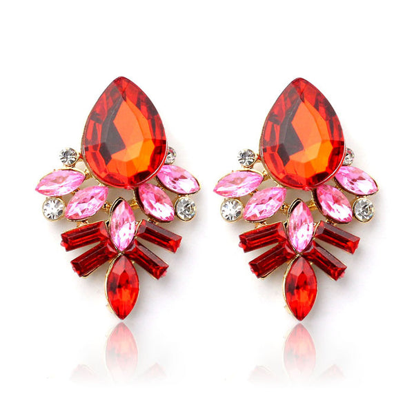 Women Lady Rhinestone Crystal Drop Alloy Ear Studs Earrings