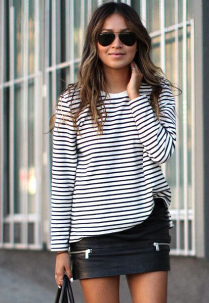 Tops O-Neck T-Shirt Long Sleeve Striped T Shirts Tees