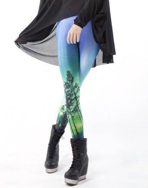 S-XL Women Universe Galaxy Printing Leggings Aurora Skye Leggings Pants Elasticity Space