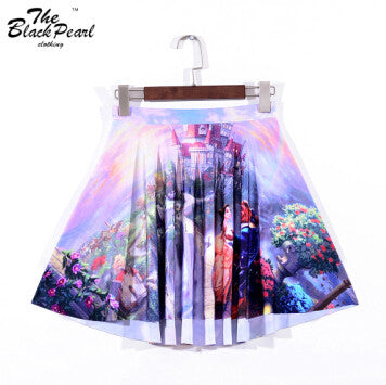 Summer Beauty Beast Romance Skater Skirts-Limited Digital Print Ladies Fairy Tales Skirts